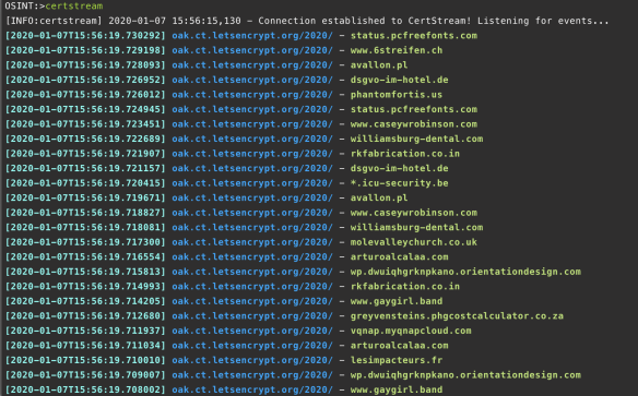 certstream just being run from the command line